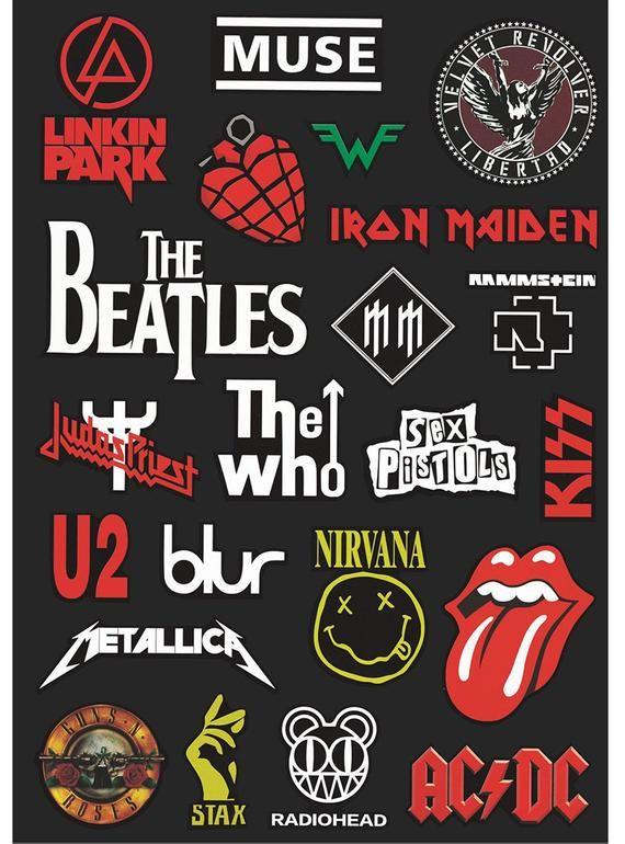 Rock Band Stickers Rock N Roll Sticker 22pcs Laptop Sticker