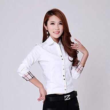 HeMaLiSha Women's Korean Large Lapel Slim Shirt(White) – GBP £ 53.93