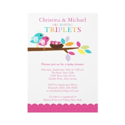 20 best triplet baby shower invitations images on pinterest baby birds nest triplets baby shower invitations filmwisefo Choice Image
