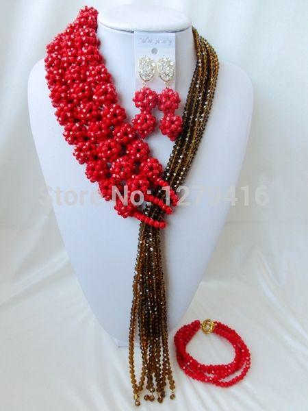 Хиты 2014 продажа специальное предложение бесплатная доставка романтический женщины в форме сердца популярные кристалл нигерии свадьба африканские бусины комплект ювелирных изделий Aa849
