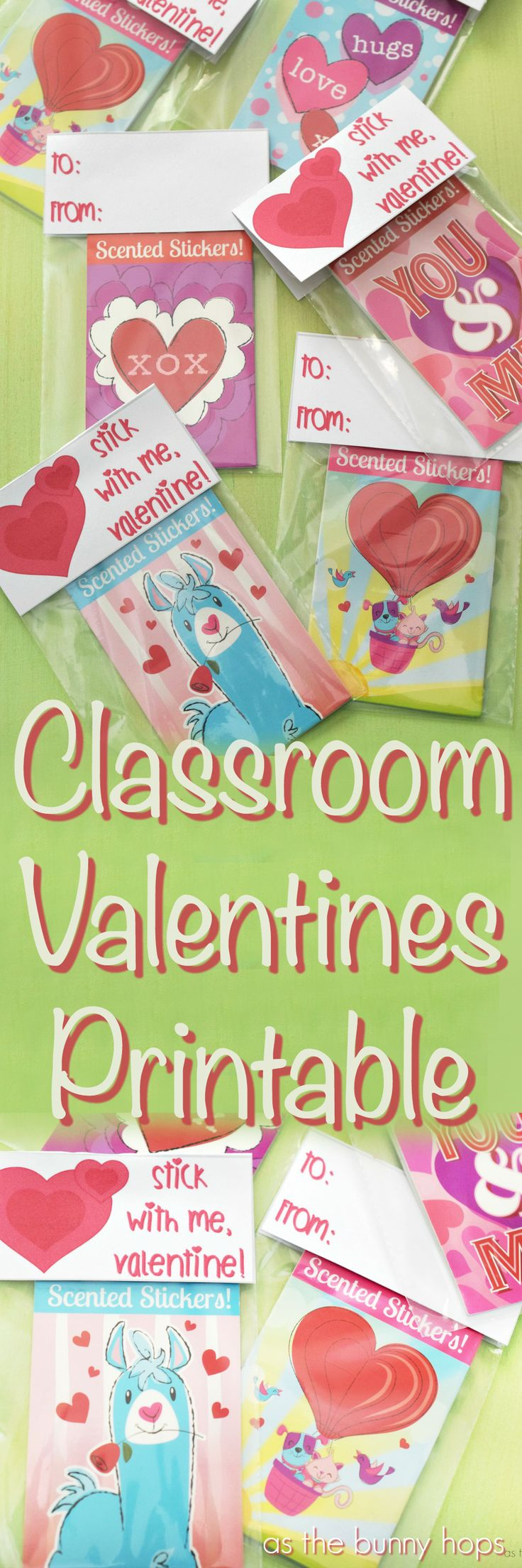 """Make fun classroom Valentines to pass out to your friends with stickers and a free """"stick with me"""" printable!"""