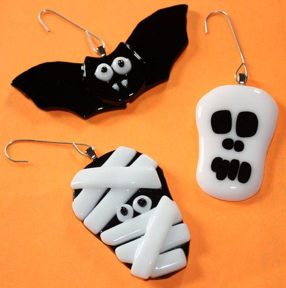 Fused Glass Halloween Ornaments  Set of 3 by OnlineGlass on Etsy, $15.00