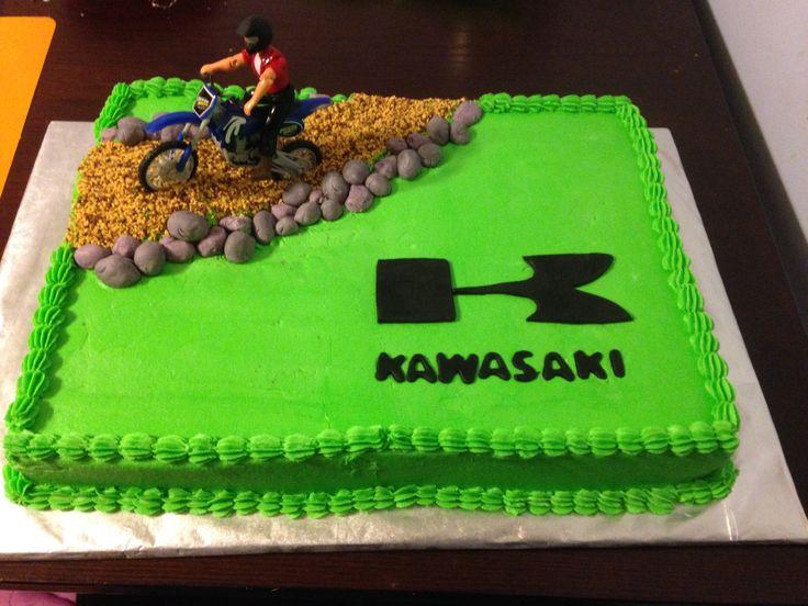 kawasaki, dirt bike cake