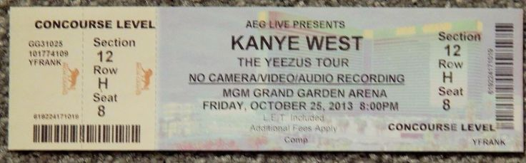 KANYE YEEZUS TOUR ORIGINAL CONCERT USED TICKET, MGM VEGAS, OCT 25 2013