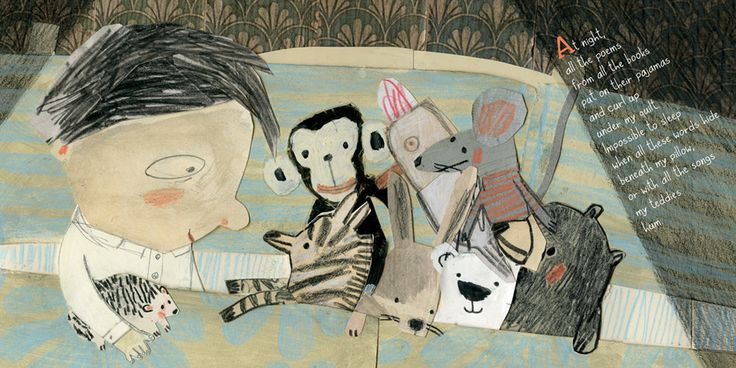 """At night all the poems from all the books put on their pajamas..."" from ALL THE WORLD A POEM by GILLES TIBO, illustrated by MANON GAUTHIER."