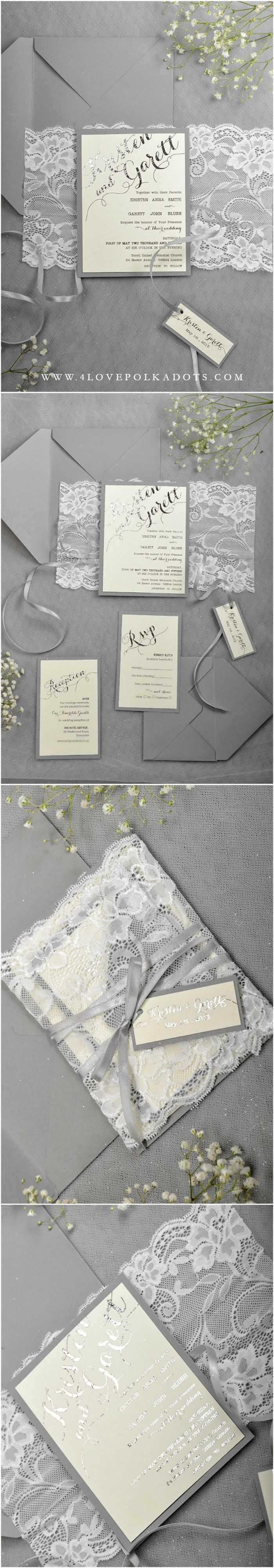 Silver & White Lace Wedding Invitation #lace #romantic #elegant #silverwedding #weddingideas