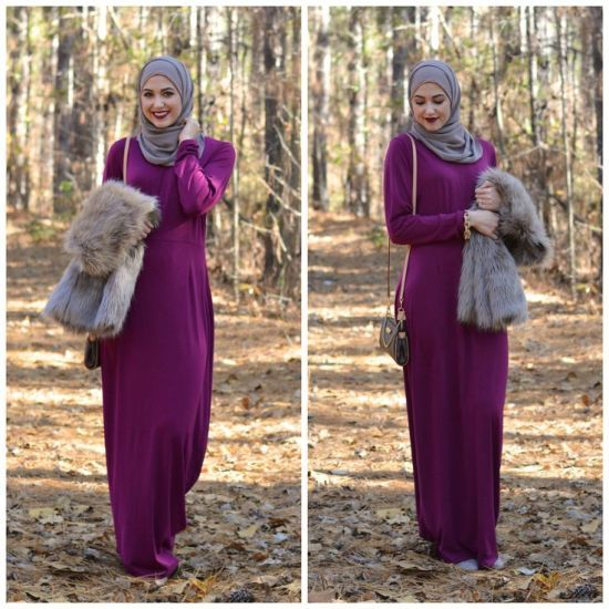 fur vest with maxi dress, Winter hijab street styles by leena Asaad http://www.justtrendygirls.com/winter-hijab-street-styles-by-leena-asaad/