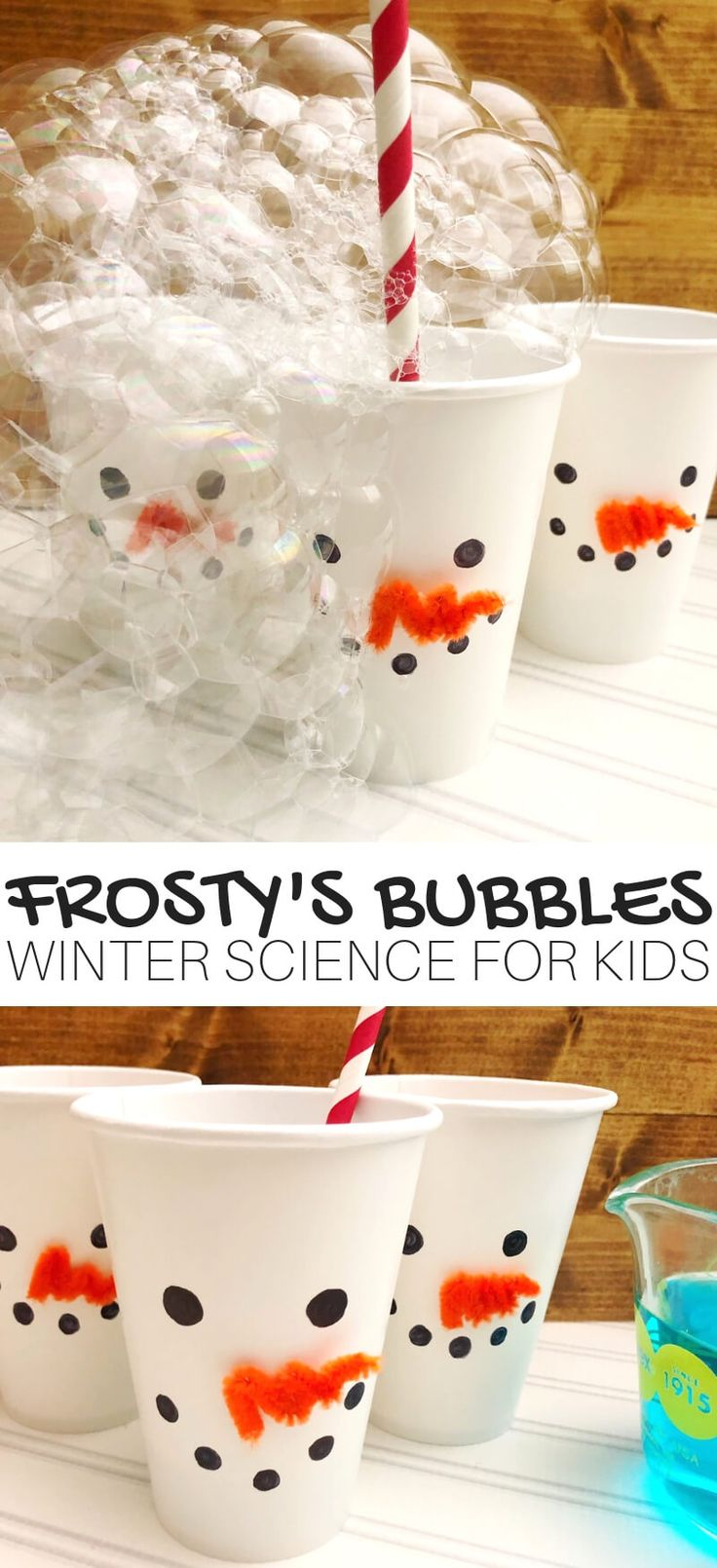 Winter Bubble Science and STEM Activity for Kids with Snowman Theme Julyssa Villagomez