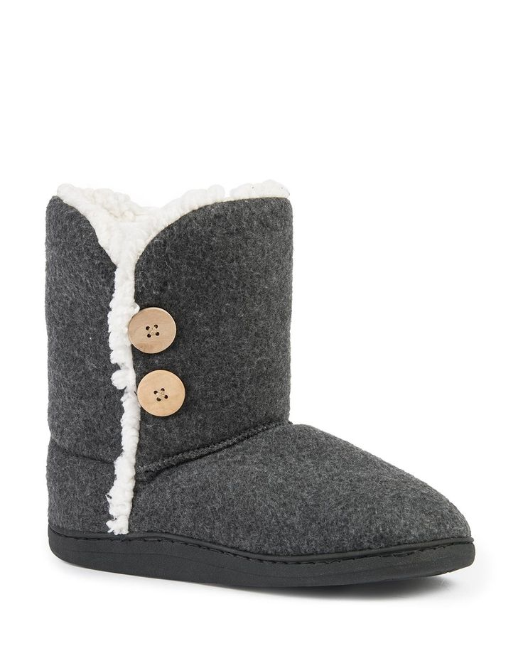 Button Trim Melton Boot Slippers