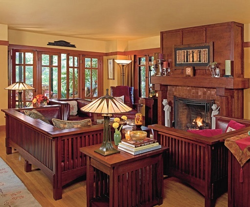May 21st - a lovely living room - Kurt Schwenk and Michael Boruszewski  restored their Craftsman - 72 Best Images About Mission Style Living Room On Pinterest