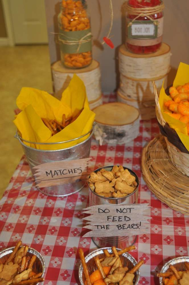 Camping Birthday Party Ideas | Photo 21 of 48 | Catch My Party campfire flames for cheetos; match sticks are pretzels