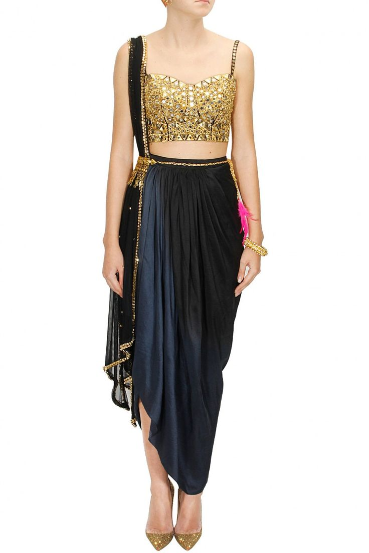 Black mirror embroidered choli with black ombre dyed wrap skirt and dupatta available only at Pernia's Pop-Up Shop.