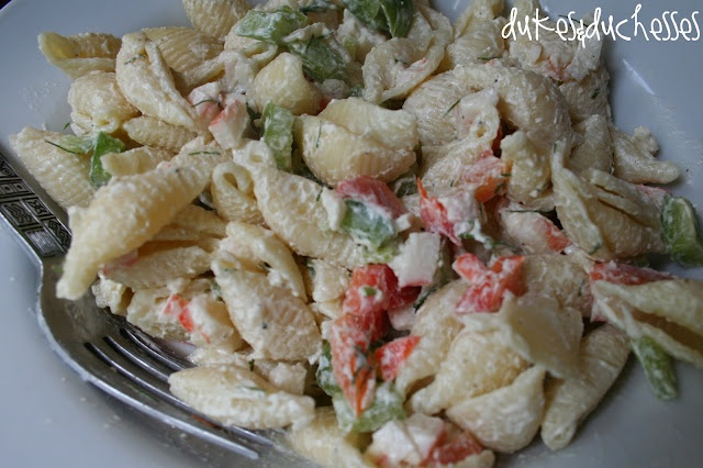 Dukes and Duchesses: A Favorite :: Crab Pasta Salad from http://www.dukesandduchesses.com/2012/08/a-favorite-crab-pasta-salad.html