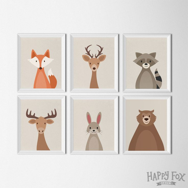 Woodland Animal set art printables nursery Decor by HappyFoxDesign