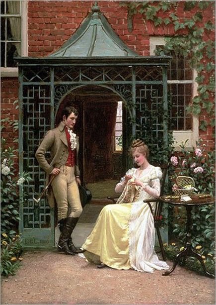 """On the Thereshold"". (by Edmund Blair Leighton)."