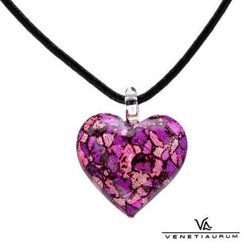 Venetiaurum Pink/Purple Murano Glass Heart Pendant
