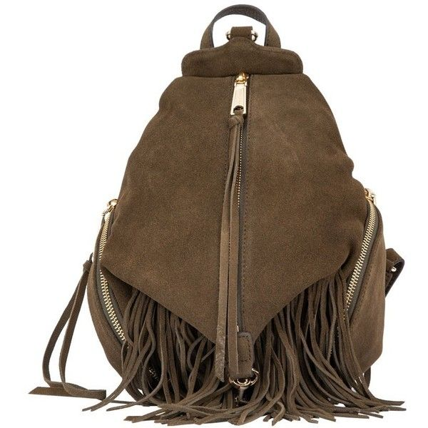 Rebecca Minkoff Olive Julian Medium Fringe Backpack ($325) ❤ liked on Polyvore featuring bags, backpacks, leather knapsack, leather daypack, real leather backpack, brown leather rucksack and leather rucksack