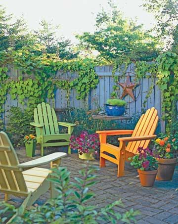 Patio Furniture with ColorColors In Backyards, Adirondack Chairs Patios, Backyards Painting Fence, Gardens Design Ideas, Backyards Ideas, Bright Painting, Painting Chairs, Gardens Chairs Colors, Bright Colors