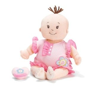 """Baby Stella Sweet Sounds Soft Nurturing First Doll This baby makes a sucking sound when the pacifier is attached (via a magnet), it giggles when you press the toe and says """"momma"""" when you press it's hand. http://bit.ly/13qBfm6"""