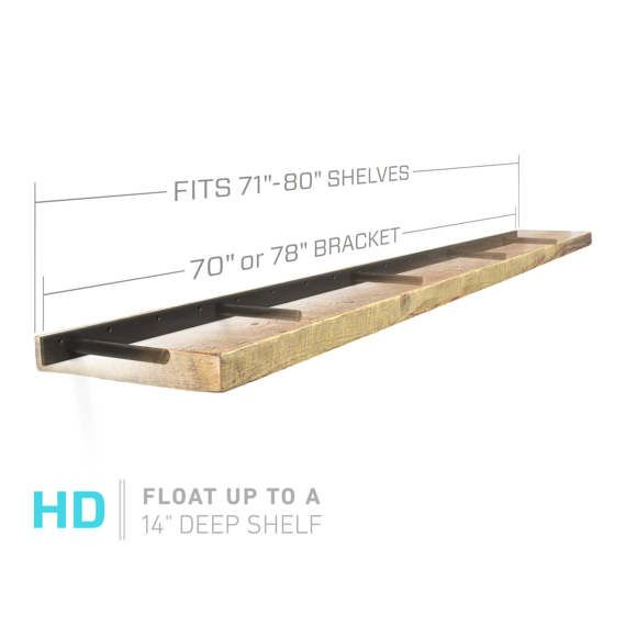 THE ORIGINAL **HEAVY DUTY** - INVISIBLE FLOATING SHELF BRACKET -- Patent Pending, Beware of imitations.  ***Each bracket in this listing has 5 support rods -- Supports 1-1/2 thick+ up to 14 deep  ***Select the bracket length just shorter than your shelf length  The weight capacity
