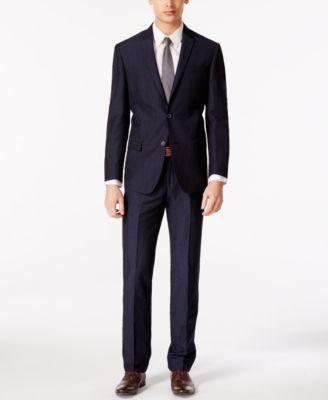 DKNY Men's Navy Linen Blend Extra Slim Fit Suit