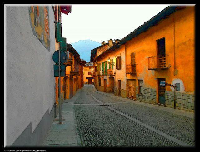 Luserna San Giovanni - photographic processing (296) - elaborazione fotografica di una strada di Luserna San Giovanni di sera ...