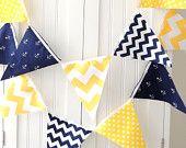 9 Feet Fabric Banner, 21 Flag Bunting, Navy Blue Anchor, Yellow Chevron, Polka Dot, Baby Boy Nursery Decor, Baby Shower