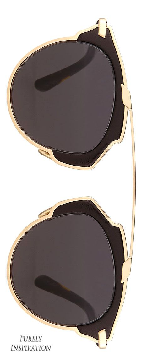 Dior So Real Leather-Trim Metal Sunglasses | Purely Inspiration