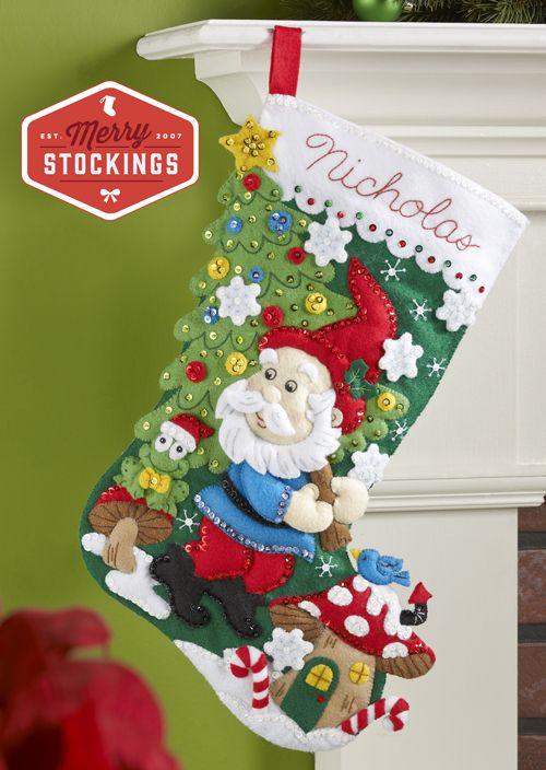 Santa Gnome Bucilla Felt Stocking Kit