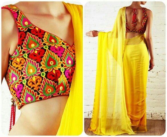 Yellow plain Saree. Colour blouse. Google images.