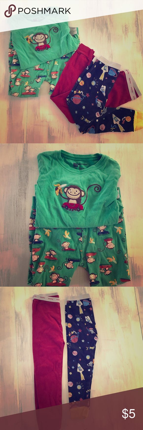 Cute little boy Gap pajamas- lot of 3 From Baby Gap all on a 3T, green monkey shirt and pants set, red, pants, and navy space pants.  Perfect for your little guy! Baby Gap Pajamas Pajama Sets