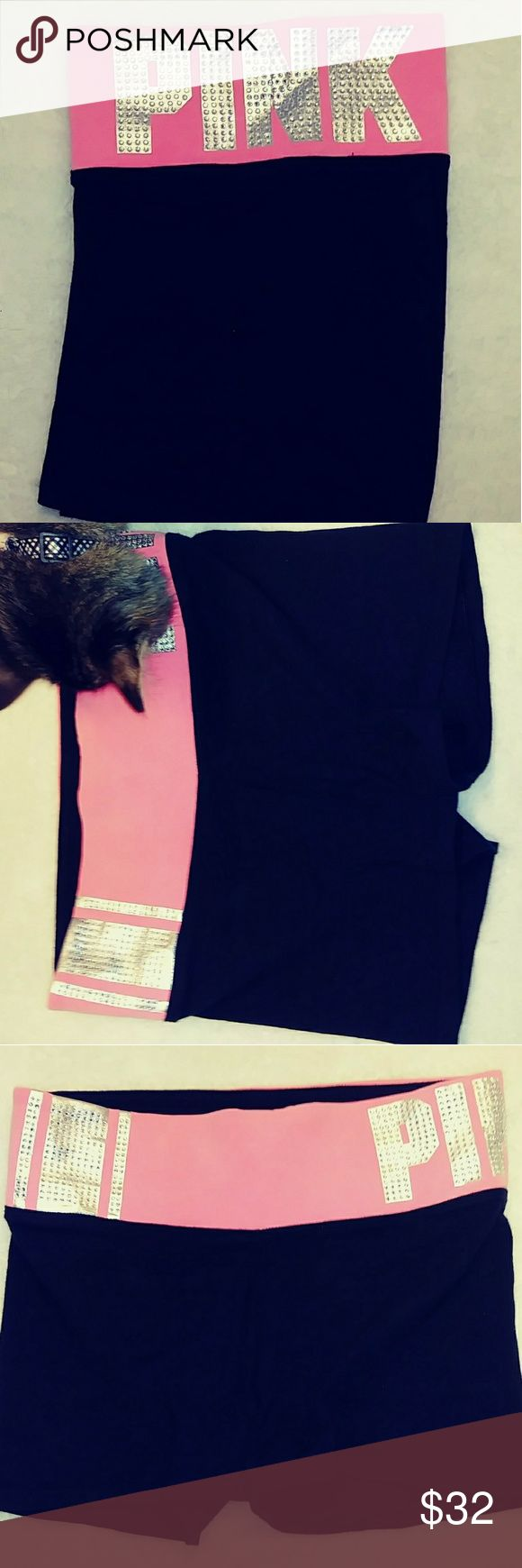 """Victoria's Secret """"Pink"""" Bling Yoga Shorts BNWOT  Victoria's Secret Pink Bling Yoga Shorts.  Black V.S. Pink Yoga Shorts With Hot Pink Band. Right Side Has One wide Rhinestone Stripe With Two Thin Rhinestone Stripes One On Each Side.  Rhinestone PINK Imprint on Left Hip with inner Pocket As Well... PINK Shorts"""