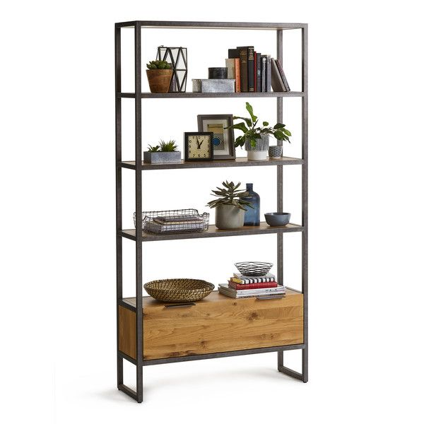 Brooklyn Natural Solid Oak And Metal Tall Bookcase Metal