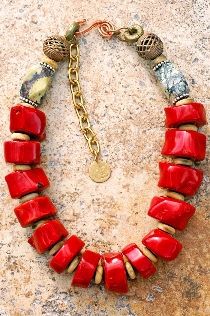 Archipelago: Chunky Red Bamboo Coral Slice Necklace