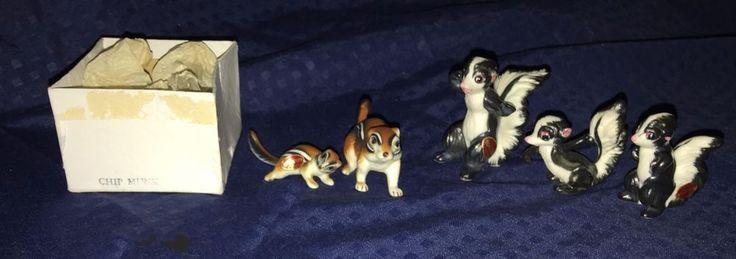 Miniature Bone China BLACK & WHITE SKUNK FAMILY Figurines Japan & ChipMunk Set
