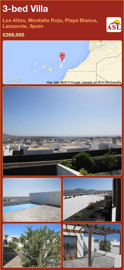 3-bed Villa in Los Altos, Montaña Roja, Playa Blanca, Lanzarote, Spain ►€269,950 #PropertyForSaleInSpain