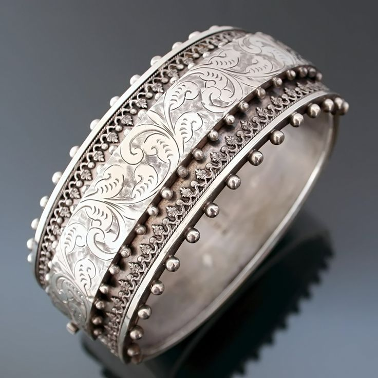 Victorian Sterling Engraved, Appliqued Wide Hinged Bangle Cuff Bracelet at Dresden Dollz on Ruby Lane