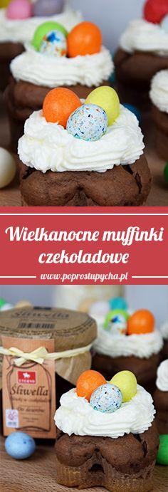 Tym razem przygotowałam meeega czekoladowe muffinki z pyszną śliwellą (śliwki w czekoladzie), które udekorowałam bitą śmietaną wraz z kolorowymi, czekoladowymi jajeczkami <3  #WielkanoczEterno http://poprostupycha.com.pl/wielkanocne-muffinki-czekoladowe/ #wielkanoc #poprostupycha #muffinki #przepis