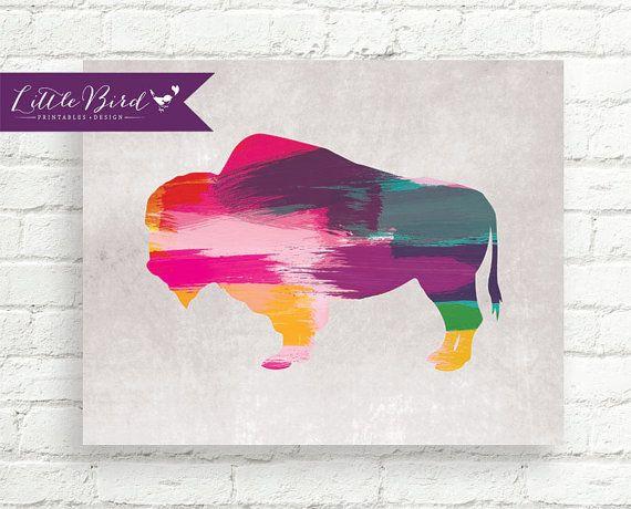 Striking, modern paint stroke buffalo instant download wall art.