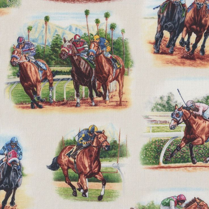 Horse Racing on Cream Jockeys Horses Country Quilt Fabric - Find a Fabric - Available to purchase in Fat Quarters, Half Metre, 3/4 Metre, 1 Metre and so on.