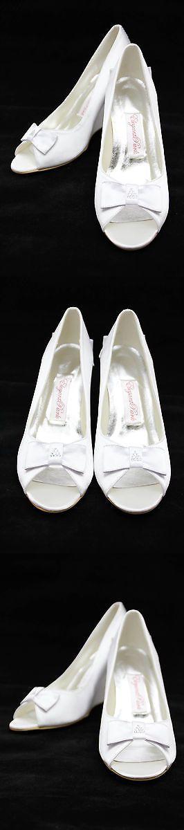 Wedding Shoes And Bridal Shoes: Elegantpark Wedges Peep Toe Pumps Satin Wedding Bridal Shoes Satin White, Size 9 BUY IT NOW ONLY: $55.99