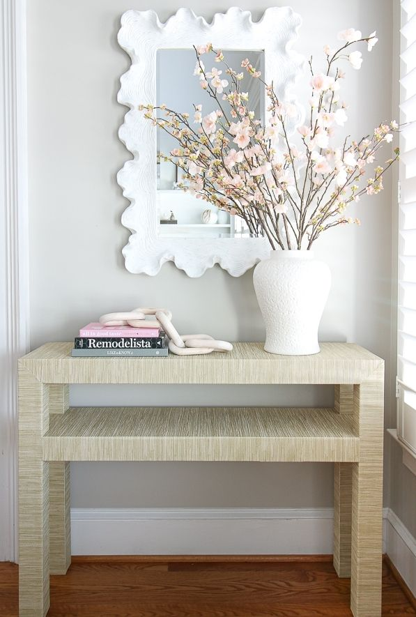 Grasscloth Wrapped Table Diy For Under 60 Stefana Silber Diy Table Wallpaper Furniture Furniture Appliques