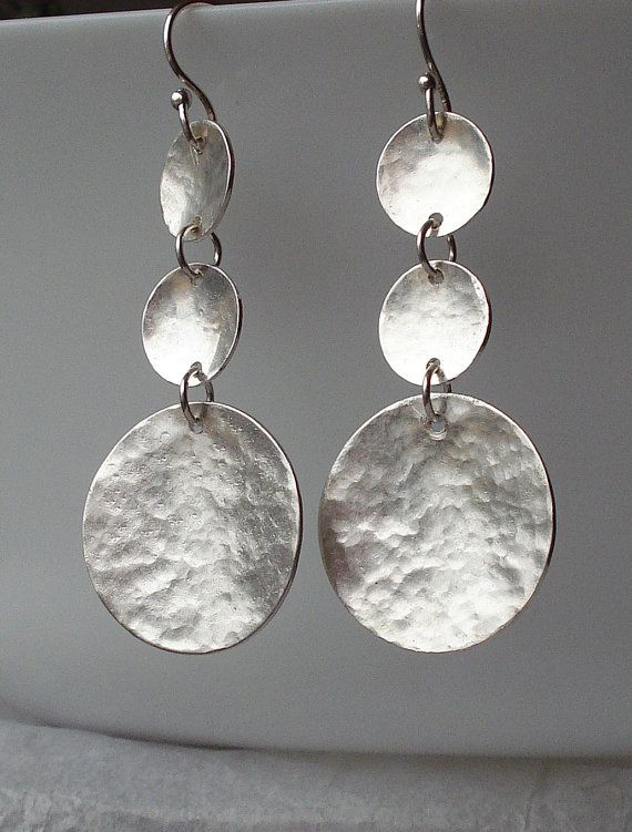 Sterling silver hammered earrings by Amaia on Etsy, etsy