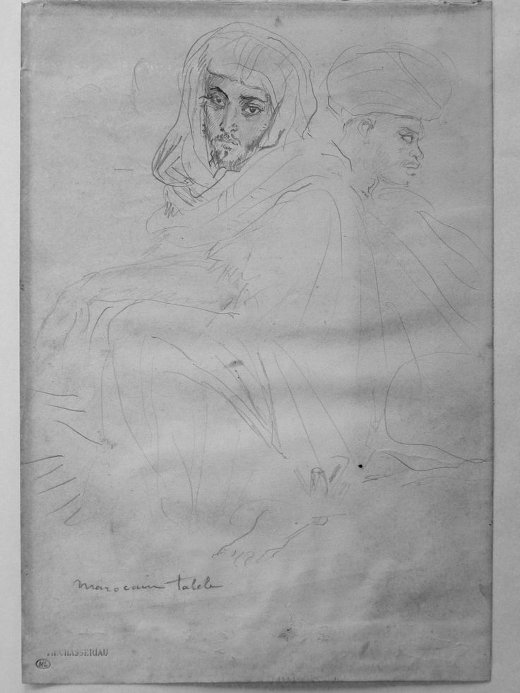 CHASSERIAU Théodore,1846 - Deux Arabes assis - drawing.