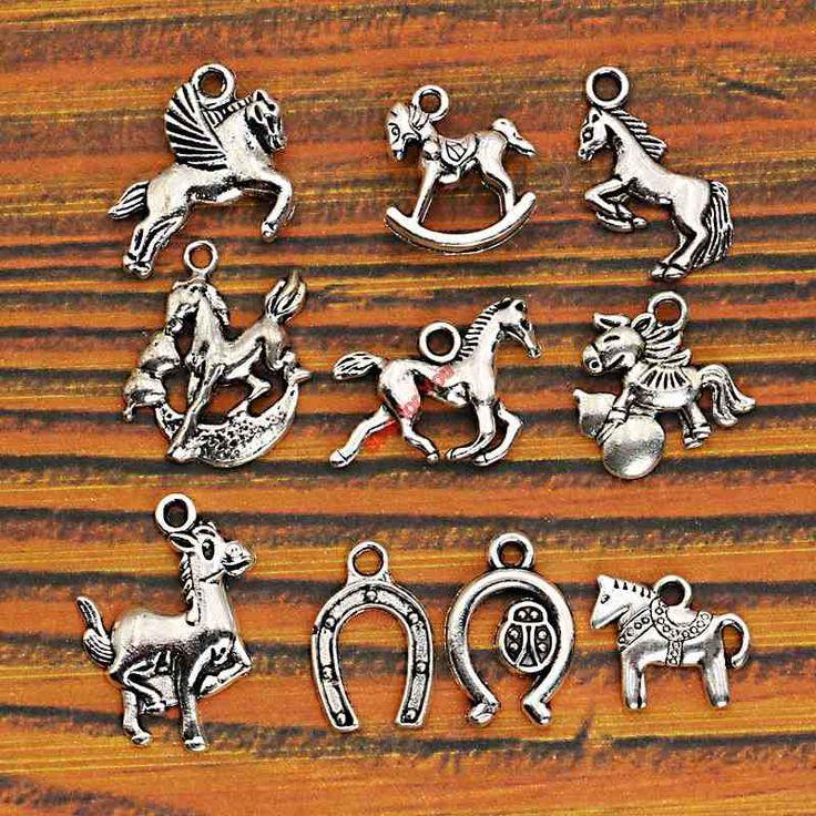 10 stücke Mixed Tibetanisches Silber Überzogene Tiere Pferd Rehe Hund Charme Anhänger Schmuck Machen DIY Handwerk Charme Handgemachte Fertigkeiten m026