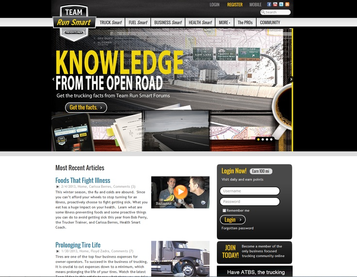 Best Kentico EMS Implementation  Freightliner – Team Run Smart	 - http://www.TeamRunSmart.com  Implemented by Burns Marketing  Team Run Smart is a robust community portal that delivers business-focused content to the US trucking industry. The solution included a mobile-optimized and traditional website that was coupled with personal accounts, forums, blogs, member deals, newsletter... http://www.kentico.com/Customers/Site-of-the-Year/Site-of-the-Year-2012