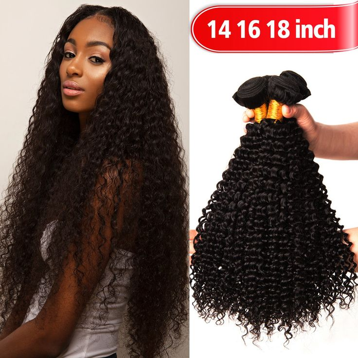 "YOUFA Virgin Hair bundle, 8A Kinky Curly Human Weave Hair Extensions 3 Bundles Unprocessed Brazilian Remy Hair Weft Natural Color (14"" 16"" 18"")"