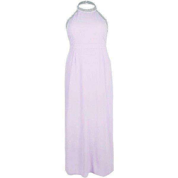 Boohoo Plus Olivia Embellished Halter Neck Maxi Dress   Boohoo ($28) ❤ liked on Polyvore featuring dresses, halter-neck maxi dresses, embellished maxi dress, halter dress, purple halter dress and purple dress