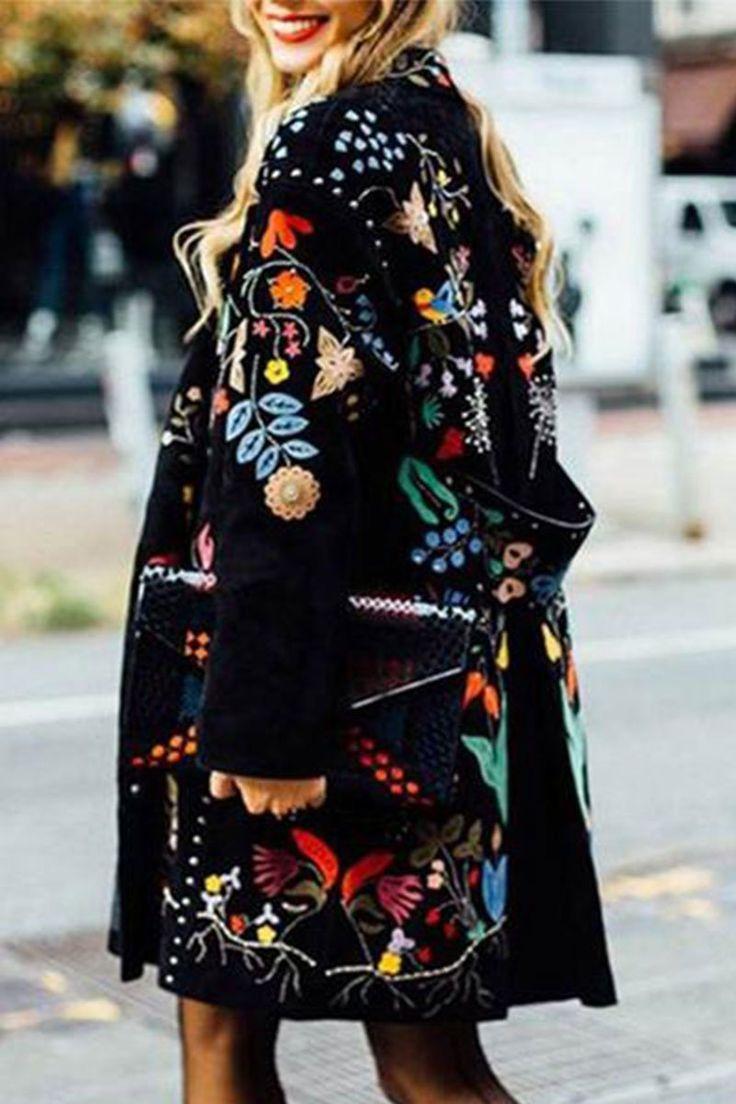 Fashion Flower Printed Lapel Collar Loose Coat - Abiti flowy