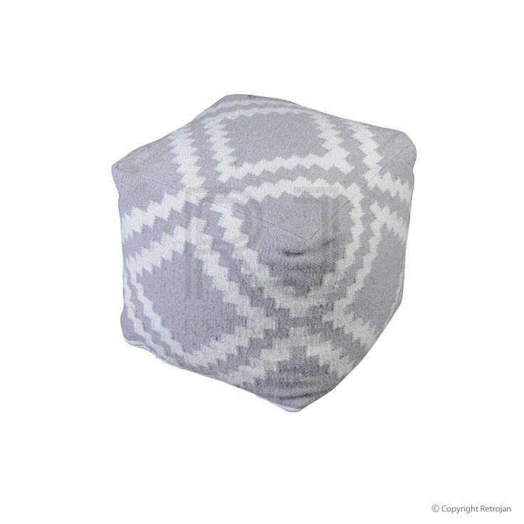 Regal Woollen Pouf - Silver / Ivory  | $149.00